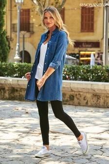 חולצת ג'ינס של Sosandar בגזרה משוחררת ארוכה