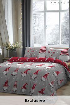 Fusion Kissen- und Bettbezug mit Weihnachtswichtel-Print im Set, Silberfarben