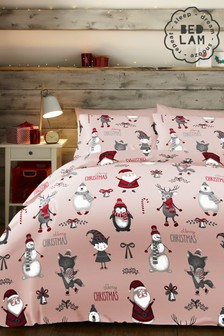 Bedlam Pink Christmas Party Duvet Cover and Pillowcase Set