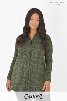 חולצה ירוקה של LIVE למידות גדולות מבד ג'רזי בר קיימא בהדפס עלים