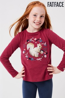 FatFace Red Squirrel Sequin T-Shirt