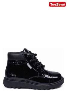 ToeZone Black Patent Lace Boots