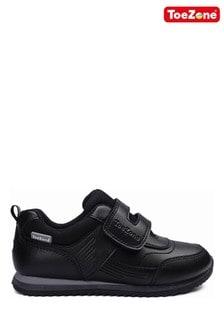 ToeZone Black One Strap School Shoes