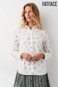 חולצה של FatFace דגם Olivia בהדפס פרחוני מצוייר בצבע טבעי