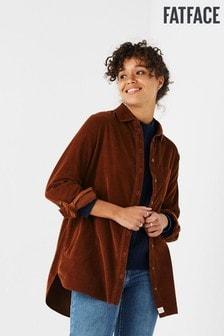 חולצת קורדרוי בגזרה ארוכה של FatFace דגם Jane בצבע חום