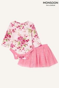 Monsoon Newborn Pink Floral Bodysuit And Skirt