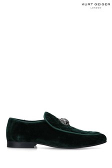 Kurt Geiger London Mens Green Hugh Eagle Velvet Shoes