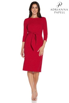 Adrianna Papell Red Metallic Knit Tie Front Dress