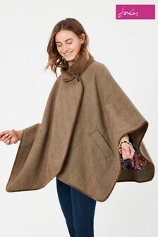 Joules Green Jillian Tweed Velvet Cape