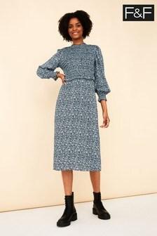F&F Blue Ditsy Shirred Midi Dress