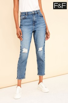 F&F Black Midwash Ripped Mom Jeans