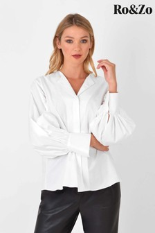 Ro&Zo White Cotton Open Collar Shirt
