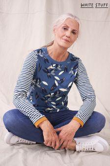 White Stuff ブルー Cassie クルーネック Tシャツ