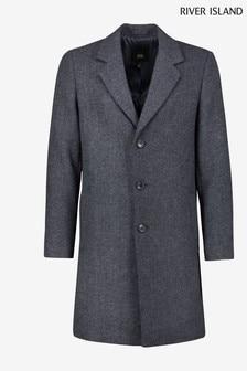 River Island Navy Twill Melange Overcoat (T06675) | $124