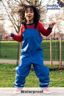 Muddy Puddles Blue Rainy Day Waterproof Bib N Brace Over Trousers