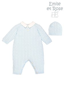 Emile et Rose Blue Cable Knit All-In-One And Hat