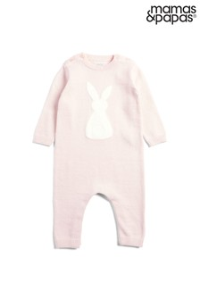 Mamas & Papas Pink Knitted Bunny Romper