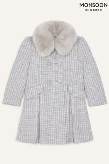 Monsoon Tweed Faux Fur Collar Coat