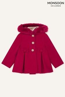 Детское пальто с капюшоном и бантиками Monsoon