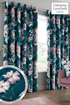Сине-зеленые бархатные шторы с принтом и люверсами Catherine Lansfield Shewsbury