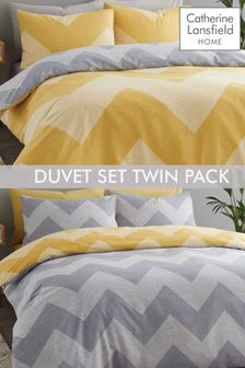 Catherine Lansfield Grey Chevron Geo Twin Pack Duvet Cover and Pillowcase Set