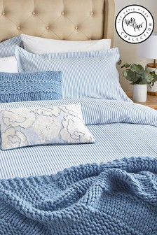 Katie Piper Blue Be Still Candy Stripe Duvet Cover and Pillowcase Set