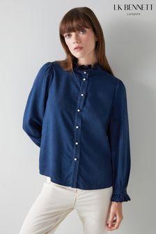L.K.Bennett Blue Cecile Denim Frill Shirt