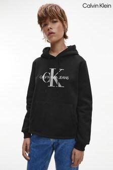 Calvin Klein Black Glossy Monogram Hoodie