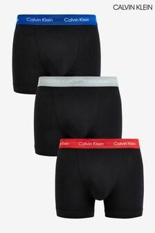 Набор из трех пар черных трусов-шорт из хлопка стретч Calvin Klein