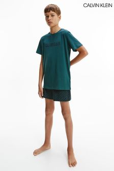 Calvin Klein Older Boys Green Intense Power PJ Shorts Set