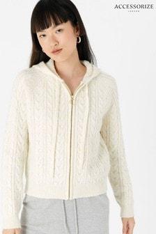 Accessorize Cream Lounge Knit Zip Hoodie