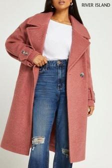 River Island Pink Dark Oversized Slouch Coat