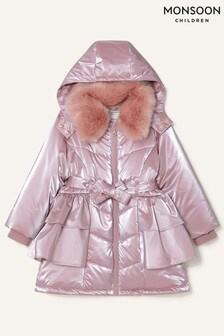 Розовое пальто с оборками Monsoon