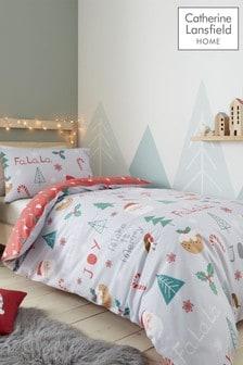 Catherine Lansfield Blue Fa La La Llama Christmas Easy Care Duvet Cover and Pillowcase Set