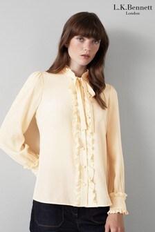 חולצה של L.K.Bennett דגם Diana בצבע שמנת עם שוליים מסולסלים