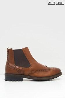 White Stuff Mens Brown Arlo Brogue Chelsea Boots
