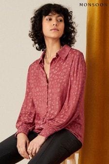 חולצת ז'קארד בצבע וורוד עם דוגמה פרחונית של Monsoon