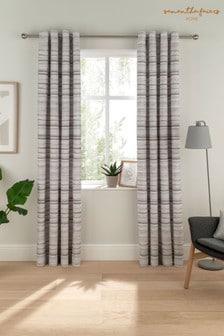 Sam Faiers Grey Serena Stripe Eyelet Curtains