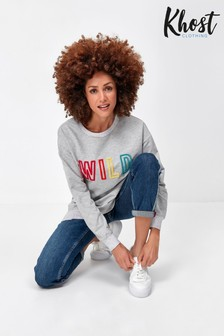 Khost Grey Clothing Wild Slogan Sweatshirt