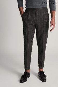 Reiss Solar Striped Pleat Front Trousers