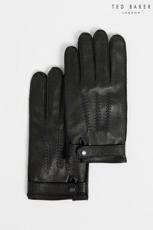 Ted Baker Black Resit Leather Top Stitch Gloves