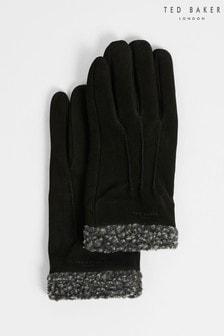 Ted Baker Mens Black Ryght Nubuck Fleece Lined Gloves