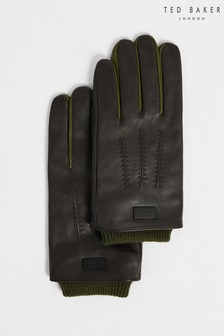 Ted Baker Brown Ballot Leather Gloves With Ribbed Cuff Gloves