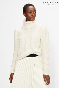 Ted Baker White Vvera Extreme Sleeve Cable Sweater