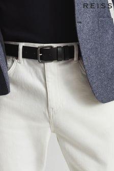 REISS Mens Black Ablemarle Leather Belt