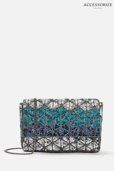 Синий клатч с ромбовидным рисунком и пайетками Accessorize