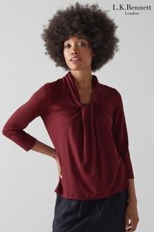 חולצת ג'רזי בגזרה נשפכת עם סרט קשירה של L.K. Bennett דגם Brooke בצבע אדום
