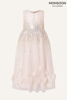 Monsoon Pink 3D Rose Sequin Maxi Dress