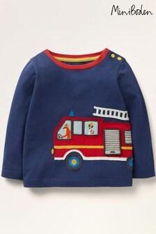 Boden Blue Fire Truck Appliqué T-Shirt