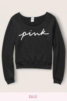 Victoria's Secret PINK Script Logo Off Shoulder Sweatshirt